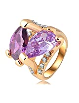 Purple Color 18K Gold Plate Genuine Austrian Crystal SWA Elements Stone Ring Fashion Jewelry For Girls Ladies By JewelQueen