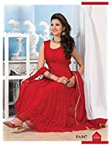 New Red Attractive Anarkali Suit