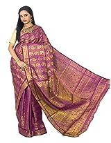 Alankrita Kanchipuram Art Silk Mango Meena Brocket Rich Pallu Saree With Stones(Majanta)