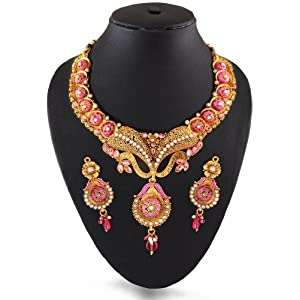Pink & White Golden Fashion Necklace Set