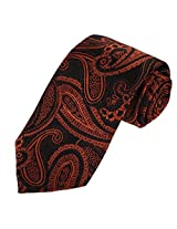 EAA1B07A Black Orange Ties Fantastic Valentines Presents Microfiber paisley Contemporary Beautiful Best for Mens By Epoint