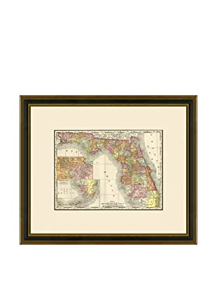 Antique Lithographic Map of Florida, 1886-1899