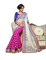 sareez Pink & Off White Color Net & Viscose Butti Saree.