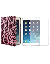 VG Zebra Print Mary Smart Cover Portfolio KickStand Smart Case For Apple iPad Air (Pink) + Matte Screen