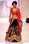 Bollywood Replica Nia Sharma Georgette and Soft Net Lehenga In Black and Peach Colour NC737