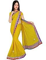 Kala Sanskruti Chiffon And Art Silk Bandhej Design Saree With Work [KSA3XI-70_Yellow]
