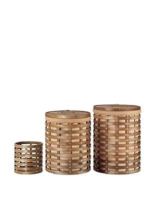 Organize It All Havana 3-Piece Round Hamper & Wastebasket Set