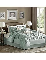 Madison Park Laurel 7 Piece Comforter Set, Queen, Blue