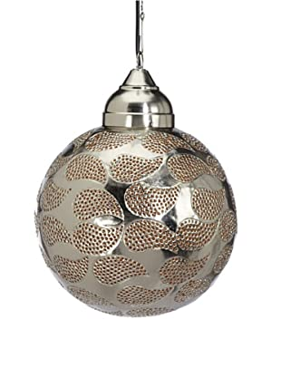 Four Hands Globe Pendant Lamp (Silver/Orange)