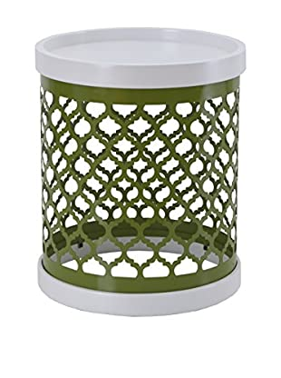 Luxury Home Quatrefoil Metal Drum, Green
