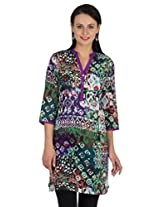 Sohniye Cotton Printed Kurta-Purple