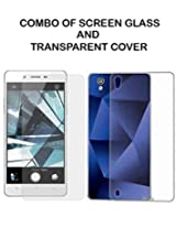 Value Combo Of HD Quality Tempered Glass and Soft Transparent Clear Back Case Cover For Oppo Mirror 5