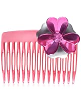 Caravan Celluloid Acetate Silver and Pink Dainty Flower Comb, 0.5 Ounce