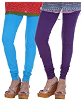 Nakhrali Women's Cotton Slim Fit Classic Churidar Leggings ( Pack of 2) (NKC-CH-CP02, Violet , Turquoise, XX-Large)