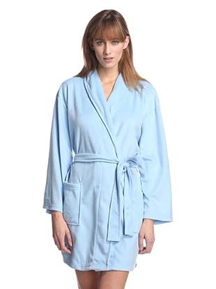 Aegean Apparel Women's Solid Minky Robe (Light Blue)