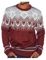 G Zap Men's Pullover Winter Chevron Snowflake Sweater(MENTOP-SWT,RED-2X)