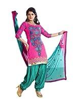 FadAttire Chanderi Patiala Salwar Kameez Dress Material-Pink-FARL08