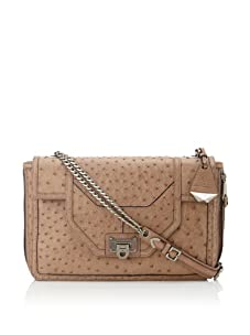 Rebecca Minkoff Women's Allie Convertible Handbag with Zippered Gussets, Embossed Ostrich