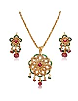 Surat Diamonds Round Shaped Rajasthani Red & Green Polki Pendant Necklace & Earring Set for Women (PS41)