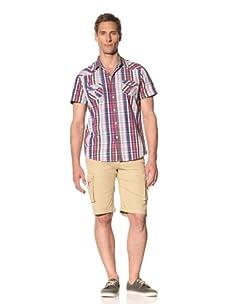 Fresh Men's Short Sleeve Plaid Button-Front Shirt (Pink)