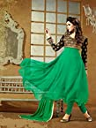 Fancy Frock Style Designer Green Anarkali Suit