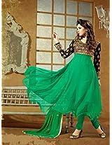 3008-Fancy Frock Style Designer Green Anarkali Suit