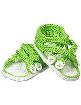 Jefferies Socks Baby-Girls Criss Cross Sandal Crochet Bootie, Lime, Newborn