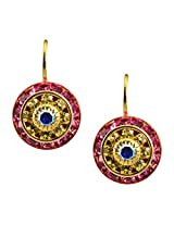 Liz Palacios Gold Plated Round Dangle Earrings in Fuchsia, Jonagold and AB Swarovski Elements Crystal