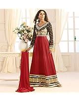 Sangeeta Ghosh Designer Red And Black Long Anarkali Suit