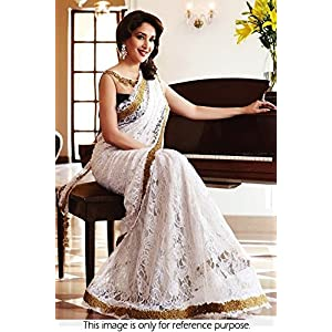 Madhuri Dixit Style White And Golden Less Bollywood Replica Saree VF-97
