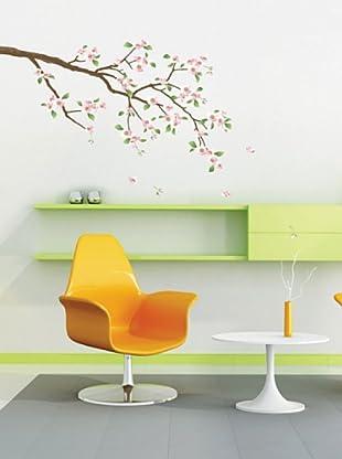 Vinilo Adhesivo árbol cerezo en flores  Multicolores