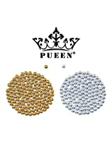 Pueen 3D Nail Art 500 Pieces Gold And Silver 3Mm Round Metal Studs For Cellphones And Nails Decorations