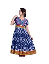 Rama Women's Cotton Printed Anarkali Suit (RRM0029_M_Sea Blue_Medium)