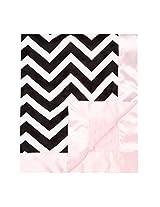 "My Blankee Chevron Minky Black/White w/ Minky Dot Pink Baby Blanket, 30"" x 35"""