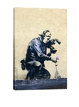 Banksy Camera Man & Flower Giclée Canvas Print