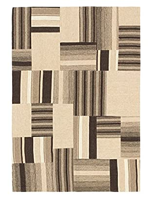 Hand Woven Moldovia Patch Wool Kilim, Khaki, 4' 6