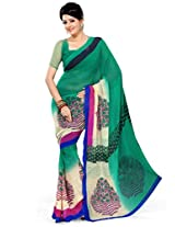 Ethnic Queen Georgette Green Colour Saree