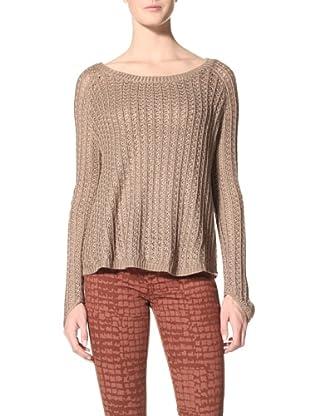 Suss Knitwear Women's Charli Thermal Raglan Boatneck (Taupe)