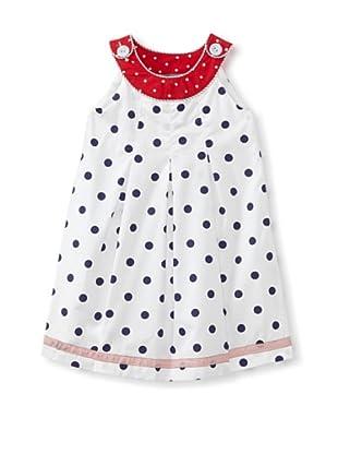Darcy Brown London Girl's Lys Dress (White/Navy Polka Dot)
