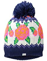 Coal Women's The Rose Wallpaper Knit Hat with Pom Pom, Navy, One Size
