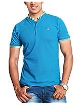 BLUE STAND COLLAR T-SHIRT