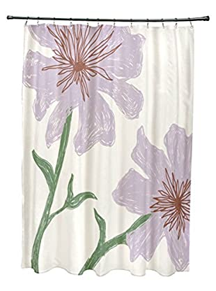 e by design Hibiscus Shower Curtain, Ivory/Lavender/Green
