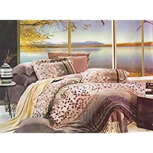 Amethyst Attractive Design Polyester Double Bedsheet with 2 Pillow Covers - Multicolor (RKH-BST-581)