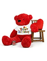 5 Feet Big Red Teddy Bear wearing a Happy Birthday Party T-shirt