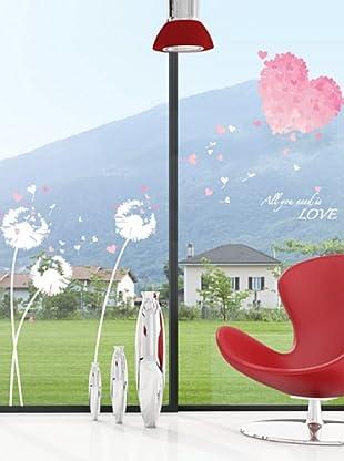 Vinilo Adhesivo corazón rosa y Love Multicolores