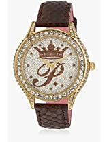 H Ph12987jsg/04 Brown/Silver Analog Watch Paris Hilton