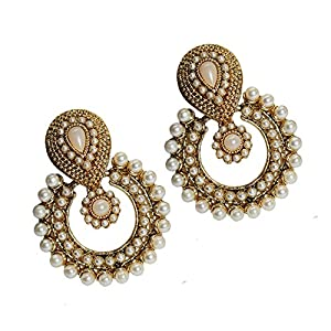 Unicorn White Pearl Metal  Dangle & Drop Earring  for  Women
