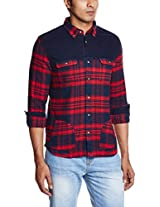 United Colors of Benetton Men's Casual Shirt (8903975013339_15A5AC69U008I901XL_X-Large_Red and Blue)
