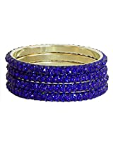 DollsofIndia Four Blue Stone Studded Bangles - Stone and Metal - Blue
