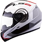 LS2 FF50 - Atmos White Red Full Face Imported Motorcycle Helmet